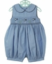 NEW Carriage Boutiques Blue Smocked Bubble with Fish Embroidery