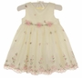 "<img src=""https://p11.secure.hostingprod.com/@grammies-attic.com/ssl/images/blue-sold-1.gif""> NEW Cinderella Ivory Organdy Dress with Pink and Green Embroidery"