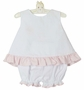 NEW Claire and Charlie by Anavini White Seersucker Monogrammable Sunsuit and Bloomers with Pink Checked Trim