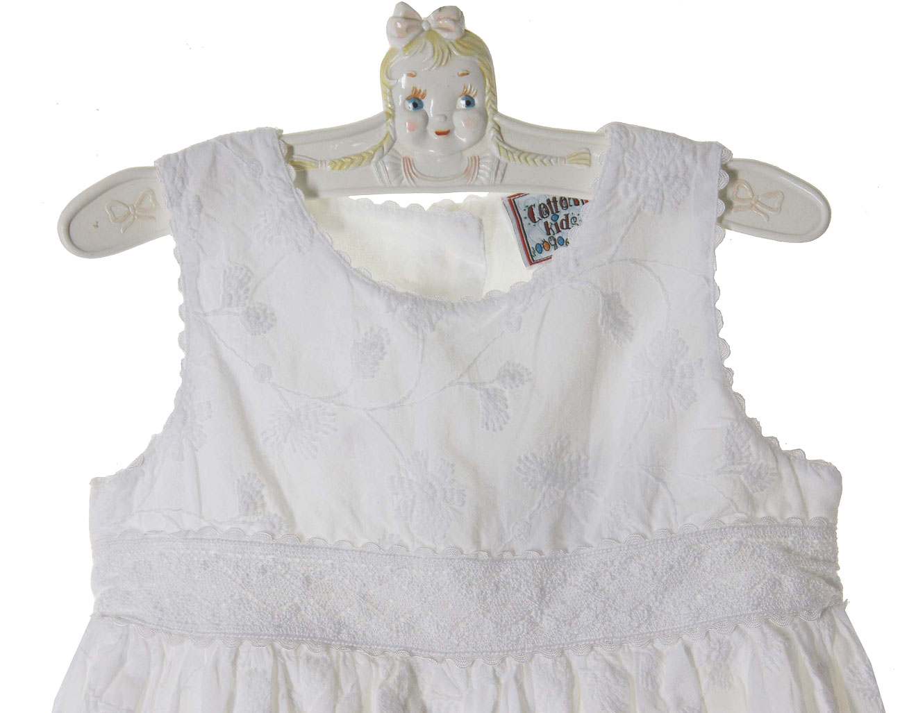 8ccd9400d NEW Cotton Kids White Embroidered Eyelet Dress with Crocheted Lace Trim