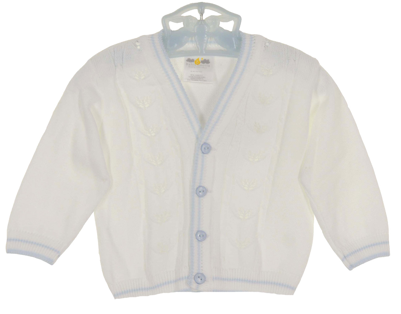 Dolce Goccia white cotton sweater with blue trim,delicate white ...