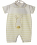NEW Dolce Goccia Yellow and White Striped Cotton Knit Bubble with Bunny Applique for Baby Girls