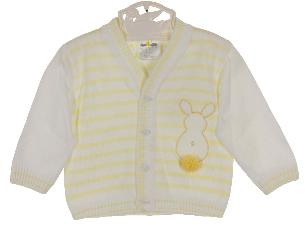 Dolce Goccia yellow striped sweater with bunny embroidery,yellow ...