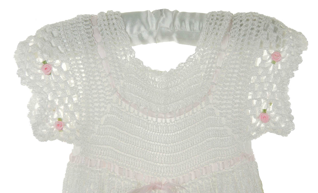 Custom Crocheted White Christening Gown For Baby Girlscustom