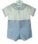 "<img src=""https://p11.secure.hostingprod.com/@grammies-attic.com/ssl/images/blue-sold-1.gif""> NEW Feltman Brothers Blue and White Button on Shorts Set with Pintucks, Fagoting, and Embroidery"
