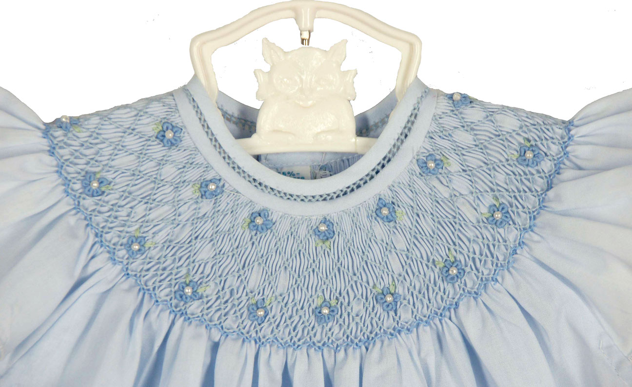 Feltman Brothers Blue Bishop Smocked Baby Dress With Pearls Feltman