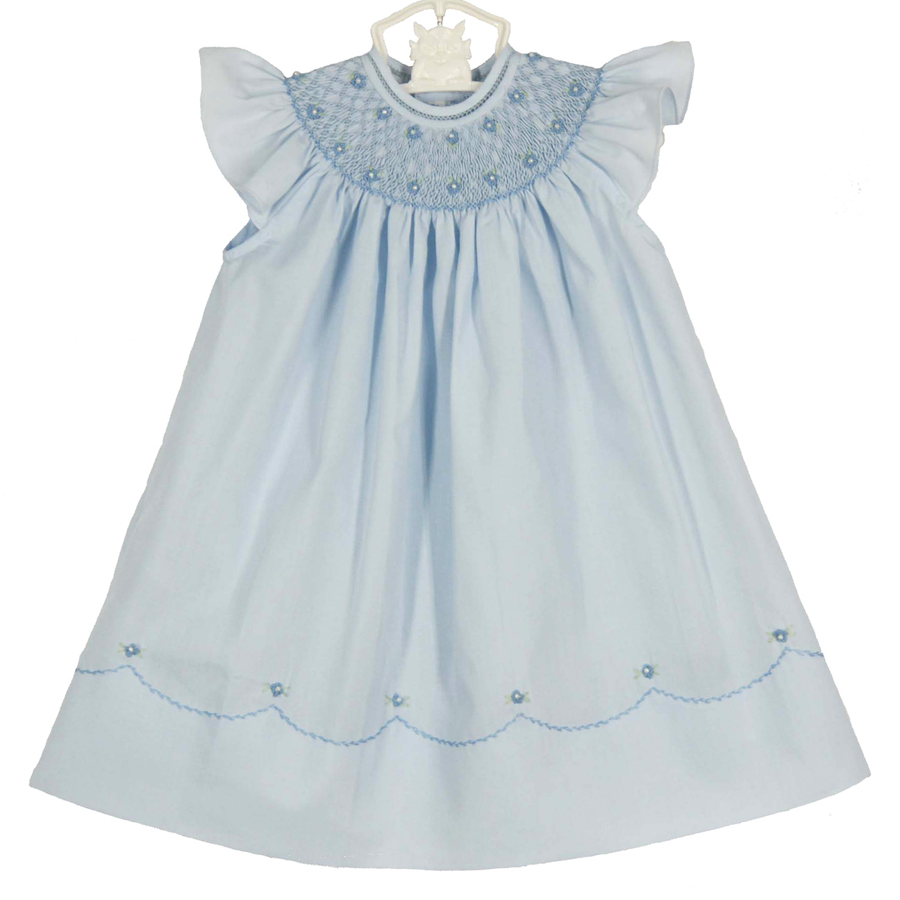 Feltman Brothers Blue Bishop Smocked Baby Dress With