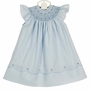 "<img src=""https://p11.secure.hostingprod.com/@grammies-attic.com/ssl/images/blue-sold-1.gif""> NEW Feltman Brothers Blue Bishop Smocked Dress with Pearl Centered Flowers"
