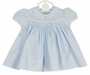 "<img src=""http://site.grammies-attic.com/images/blue-sold-1.gif""> NEW Hand Embroidered Blue Smocked Dress with Pintucks and Lace Insertion and Matching Diaper Cover"