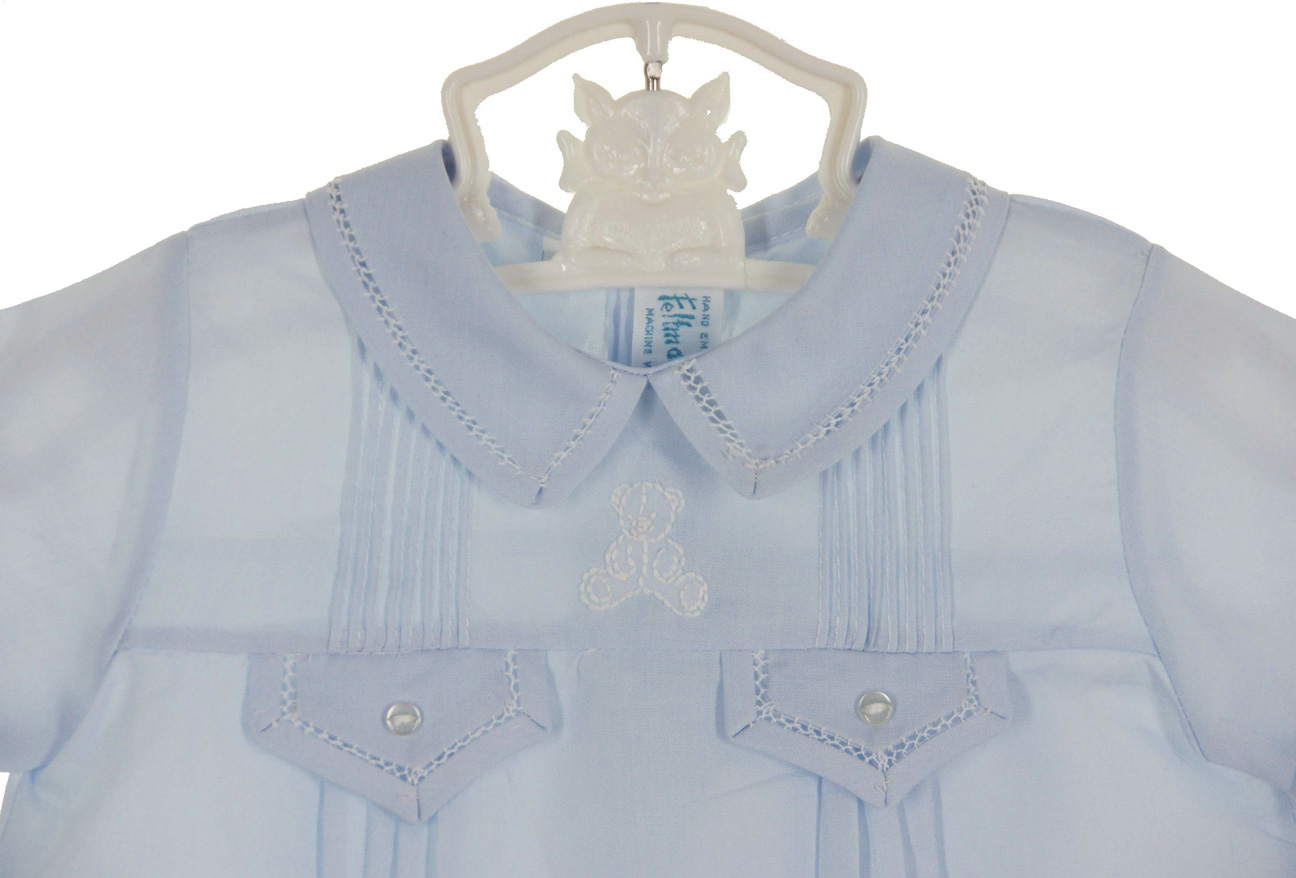 2245e2897b Feltman Brothers blue pintucked romper with white teddy bear ...
