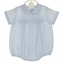 "<img src=""http://site.grammies-attic.com/images/blue-sold-1.gif""> NEW Feltman Brothers Blue Pintucked Romper with White Teddy Bear Embroidery"