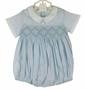 NEW Feltman Brothers Blue Smocked Baby Romper with White Collar