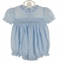 NEW Feltman Brothers Blue Smocked Bubble with Puffed Sleeves and Embroidered Rosebuds