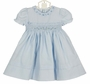 NEW Feltman Brothers Blue Smocked Dress with Embroidered Rosebuds