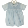 "<img src=""https://p11.secure.hostingprod.com/@grammies-attic.com/ssl/images/blue-sold-1.gif""> NEW Feltman Brothers Blue Smocked Romper with Back Ties"