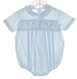 "<img src=""https://p11.secure.hostingprod.com/@grammies-attic.com/ssl/images/blue-sold-1.gif""> NEW Feltman Brothers Blue Smocked Romper with Embroidered Toy Horses"