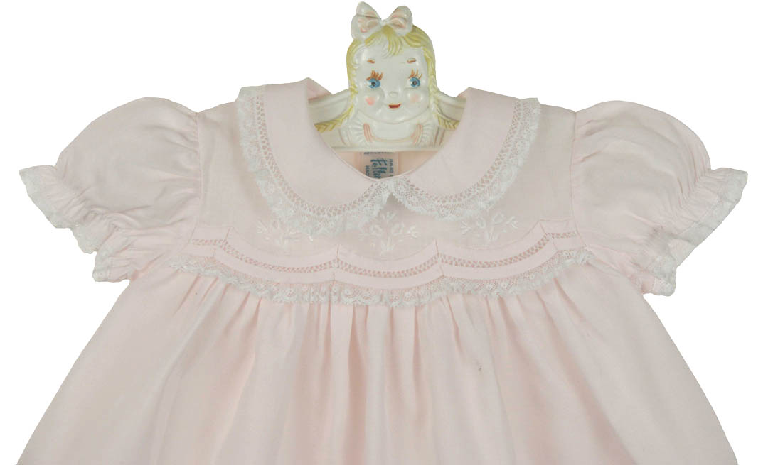 Feltman Brothers Pink Newborn Dress With Lace And Pintucks