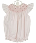 NEW Feltman Brothers Pink Bishop Smocked Bubble with Pearl Centered Flowers