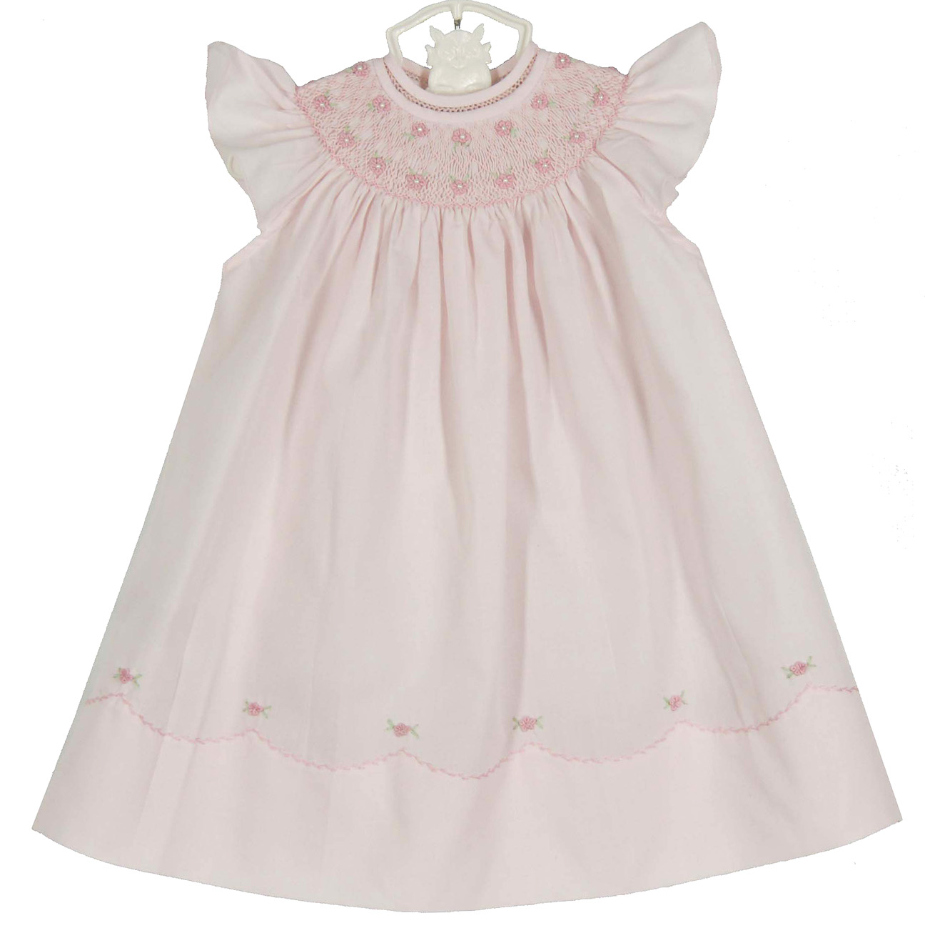 Feltman Brothers Pink Bishop Smocked Baby Dress With Pearls Feltman
