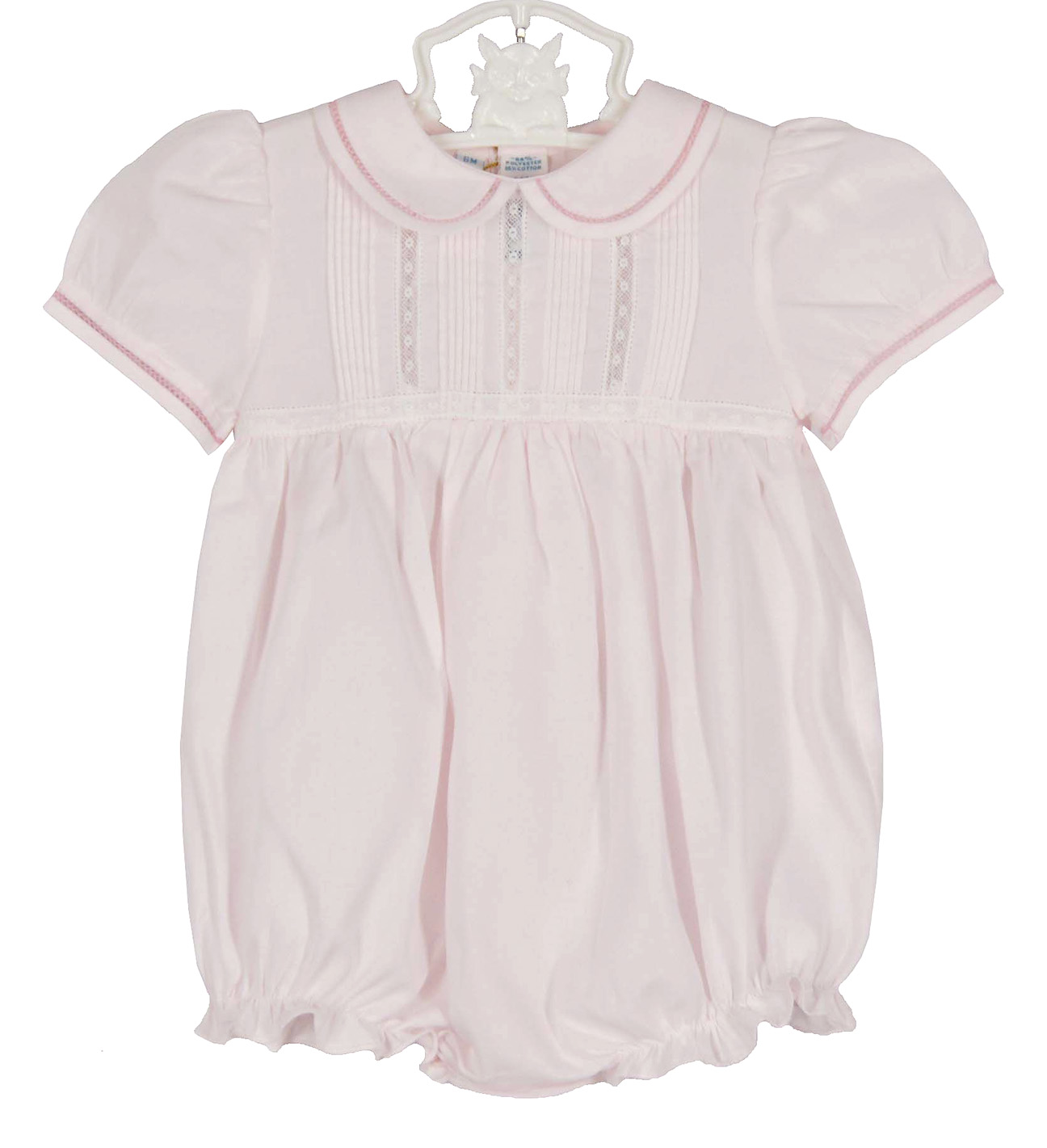 Feltman Brothers Pink Bubble With Lace Insertion Feltman Baby