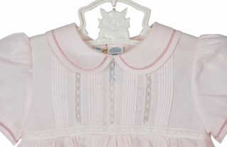 abe3f322a NEW Feltman Brothers Pink Bubble with Pintucks and Lace Insertion