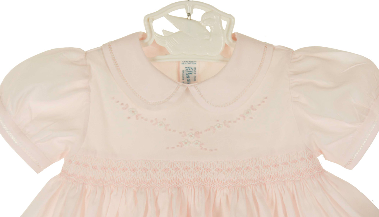 New Feltman Brothers Pink Smocked Baby Dress With White