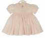 NEW Feltman Brothers Pink Smocked Baby Dress with White Embroidery