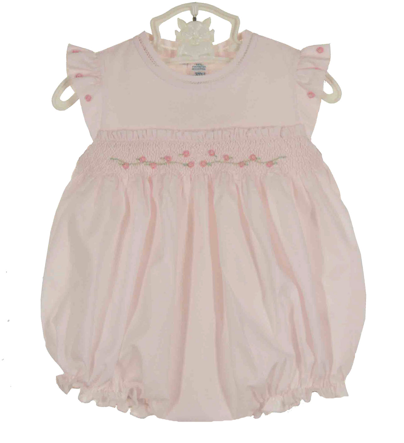 Feltman Brothers Pink Smocked Bubble With Angel Sleeves Feltman Baby
