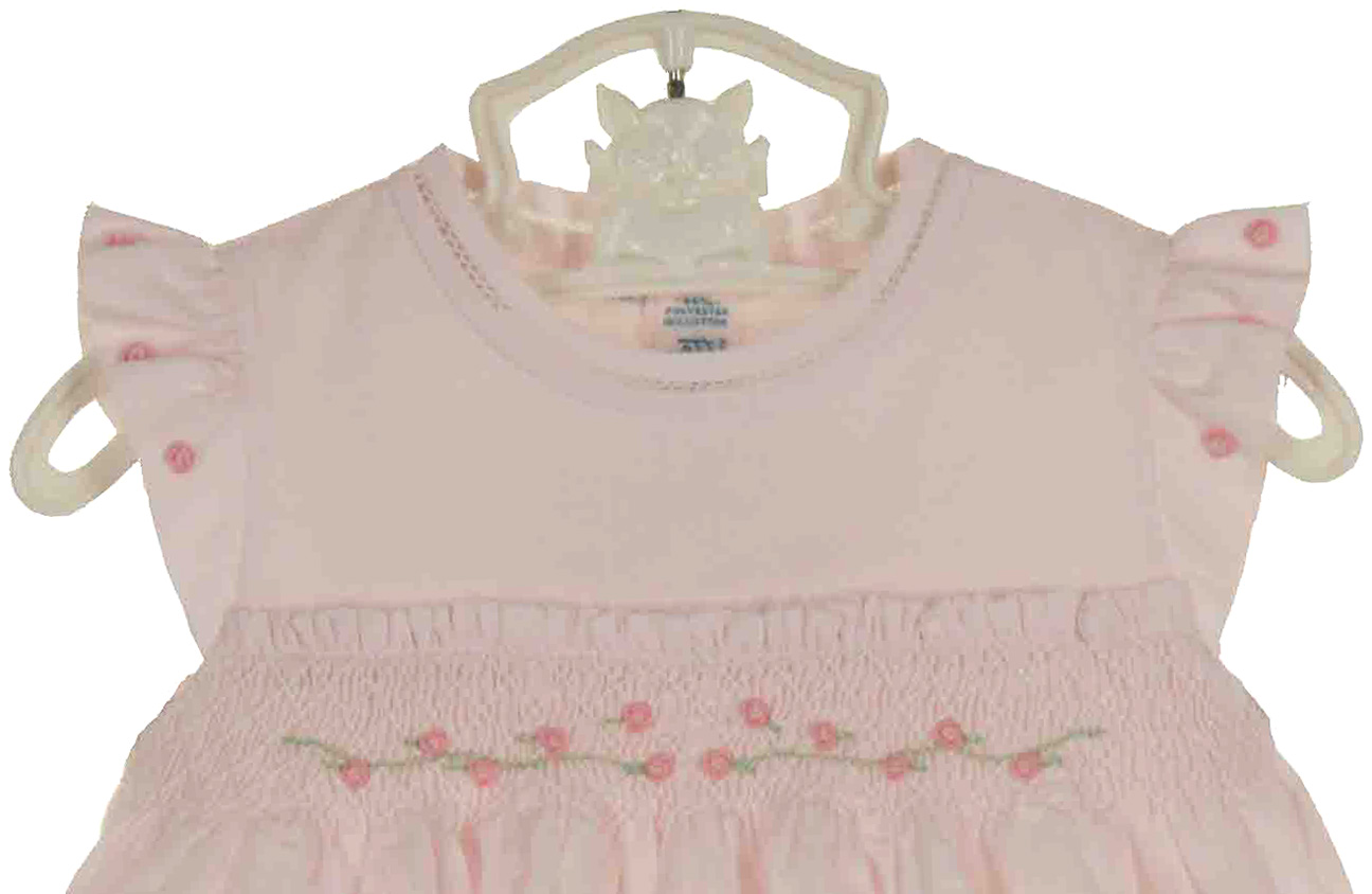Feltman Brothers pink smocked bubble with angel sleeves ...