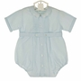 NEW Feltman Brothers Vintage Style Blue Pintucked Romper with Delicately Embroidered Scalloped Collar