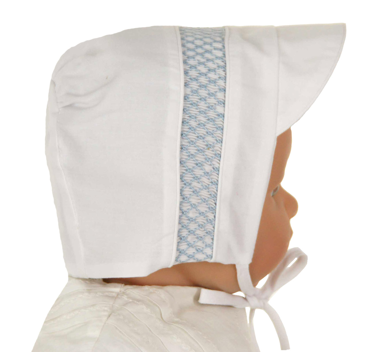 dbb074a69d5 Feltman Brothers white baby hat with blue smocking