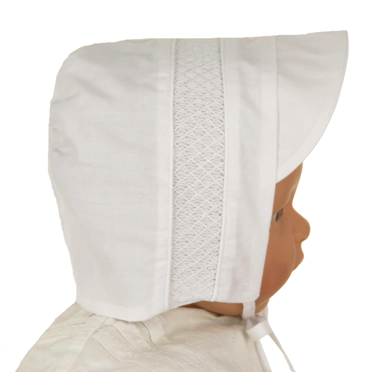 87f835fc6d7 NEW Feltman Brothers White Hat with White Smocking. BB1531  25.00. Size   sold out. Baby Hats  Baby Christening ...