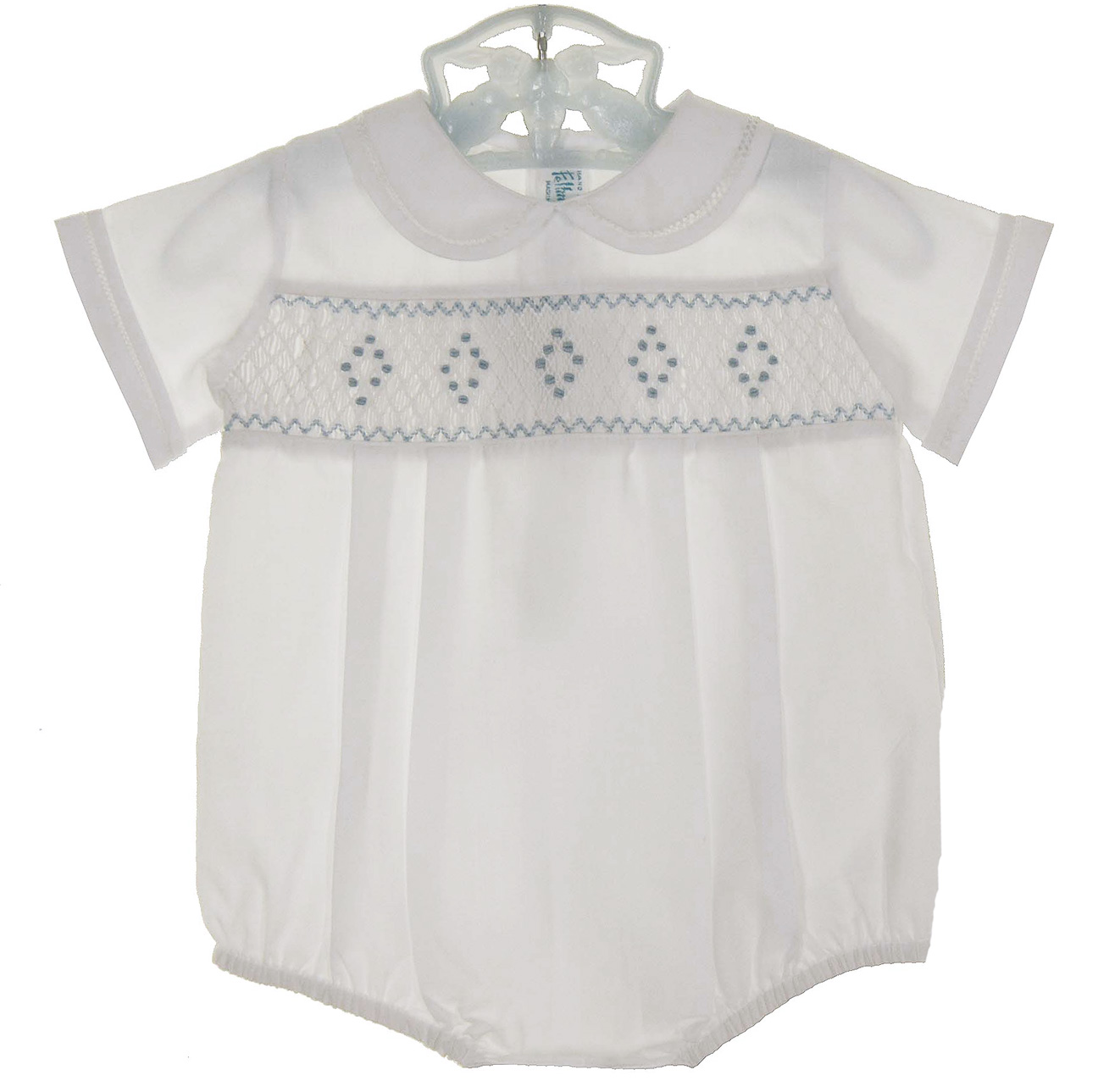 f3e6e446201 Feltman Brothers white smocked romper with blue embroidery