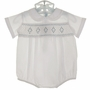 "<img src=""http://site.grammies-attic.com/images/blue-sold-1.gif"">  NEW Feltman Brothers White Romper with Blue Smocking"