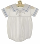 NEW Feltman Brothers White Sailor Romper with Blue Trim
