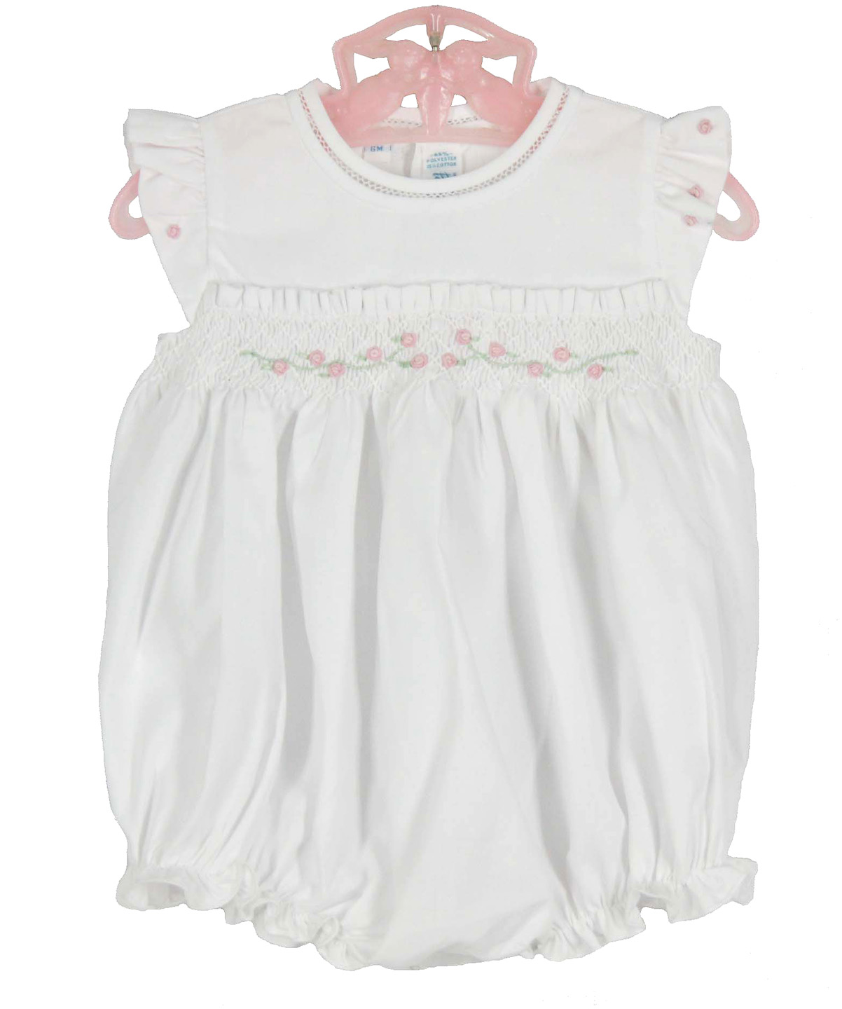 Feltman Brothers White Smocked Bubble With Angel Sleeves Feltman