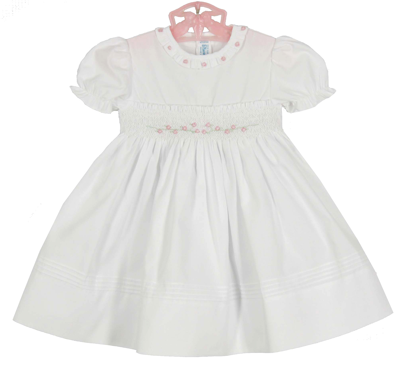 d97f318a5 Feltman Brothers white smocked baby dress with pink embroidered ...