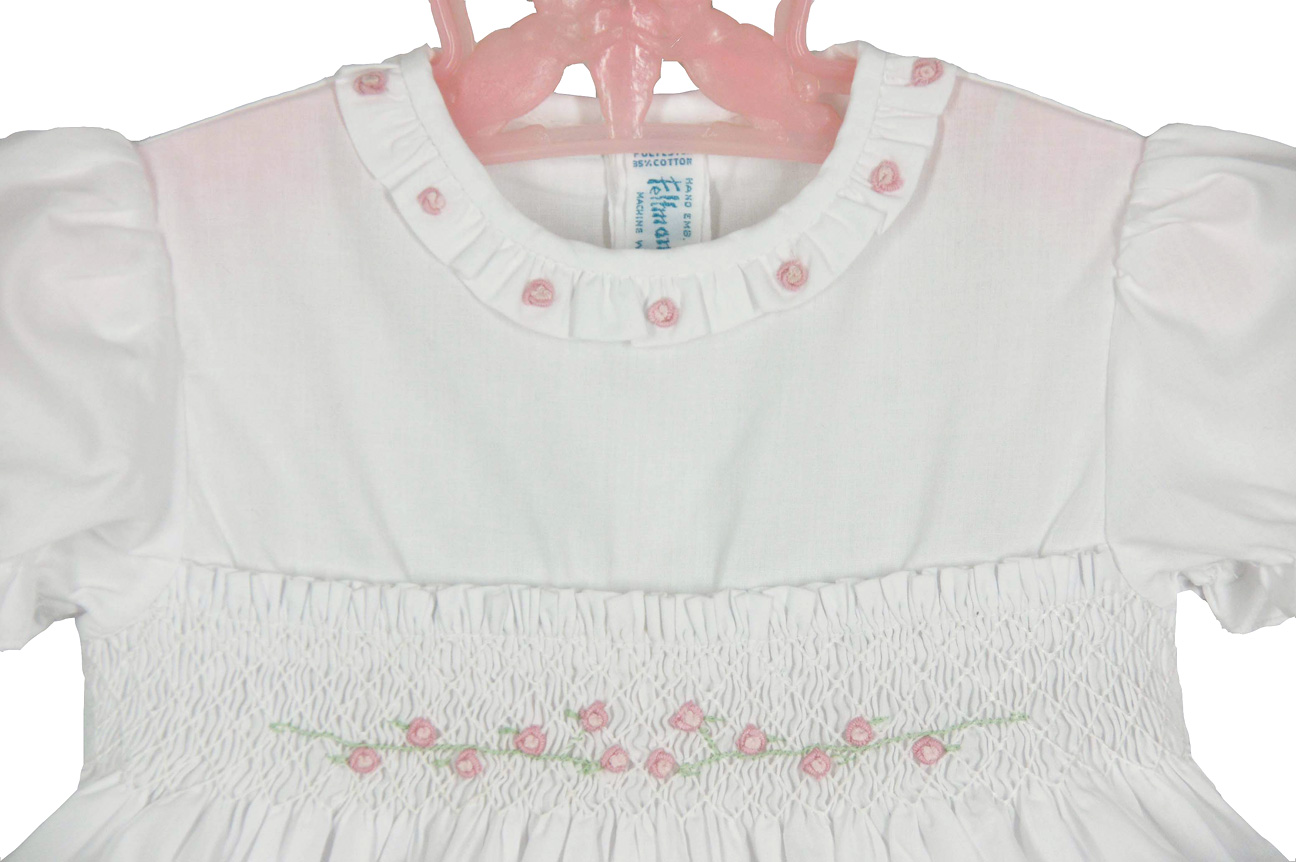 Feltman Brothers White Smocked Baby Dress With Pink Embroidered