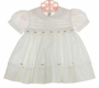 "<img src=""https://p11.secure.hostingprod.com/@grammies-attic.com/ssl/images/blue-sold-1.gif""> NEW Feltman Brothers White Smocked Dress with Openwork and Pink Rosebuds"