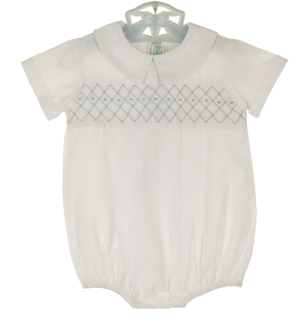 4c9831c209e9 NEW Feltman Brothers White Smocked Romper with Blue Embroidery