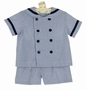 NEW Funtasia Navy Blue Seersucker Striped Sailor Shorts Set