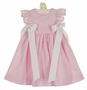 NEW Funtasia Pink Striped Seersucker Pinafore Style Dress with White Ribbons