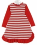 NEW Gabiano Red and White Striped Monogrammable Gown with Red Knit Sleeves