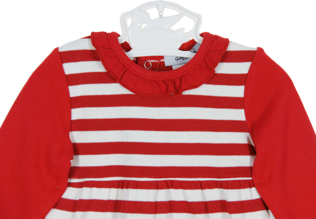 red striped ruffled sleeper for baby girls,baby girls Christmas ...