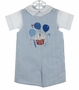 NEW Glorimont Reversible Blue Checked Cotton Birthday Shortall and Shirt Set with Cupcake and Balloon Applique