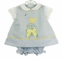 NEW Glorimont Reversible Pale Blue Cotton Oxford Dress and Pantaloon Set with Chick Applique