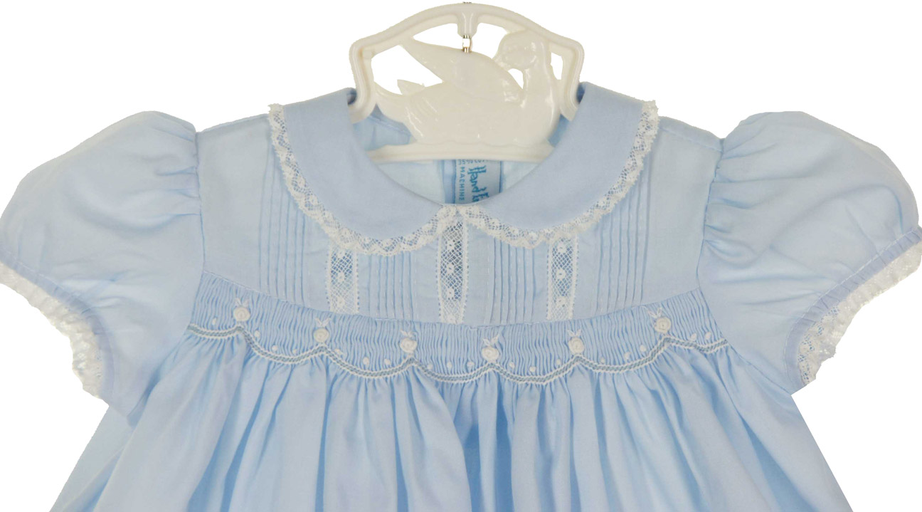 Hand Embroidered Blue Smocked Dress With Embroidery And