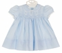 "<img src=""http://site.grammies-attic.com/images/blue-sold-1.gif""> NEW Hand Embroidered Blue Smocked Dress with Pintucks, Lace insertion, and Embroidery"