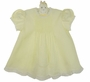 NEW Hand Embroidered Pale Yellow Dress with Pintucks and Lace Insertion