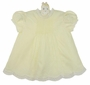 NEW Hand Embroidered Pale Yellow Dress with Pintucks and Scalloped Lace Trimmed Hem